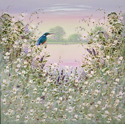 The Little Blue Kingfisher VI by Mary Shaw -  sized 30x30 inches. Available from Whitewall Galleries