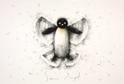 Snow Angel by Doug Hyde - Original Drawing, Paper on Board sized 22x15 inches. Available from Whitewall Galleries