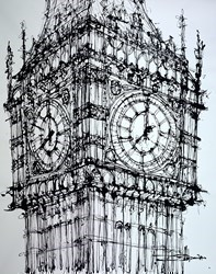 Elizabeth Tower, Eight O'Clock by Ingo -  sized 47x59 inches. Available from Whitewall Galleries