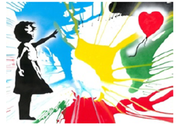 Balloon Girl by Mr Brainwash - Stencil and Acrylic on paper sized 30x22 inches. Available from Whitewall Galleries