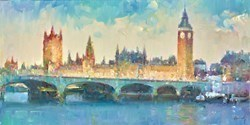 Westminster, London III by Helios - Varnished Original Painting on Stretched Canvas sized 16x8 inches. Available from Whitewall Galleries