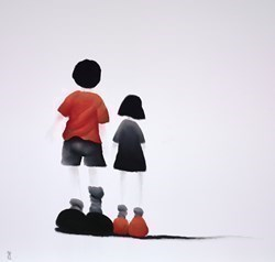 Kids by Mackenzie Thorpe - Original Drawing, Paper on Board sized 28x28 inches. Available from Whitewall Galleries