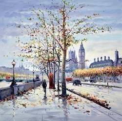 Approaching Wesminster Bridge by Henderson Cisz -  sized 30x30 inches. Available from Whitewall Galleries