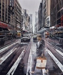 English Man in New York by Ziv Cooper -  sized 34x40 inches. Available from Whitewall Galleries