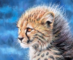 Cheetah Cub II by Pip McGarry -  sized 12x10 inches. Available from Whitewall Galleries