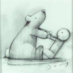 Bear Necessities Study III by Doug Hyde -  sized 5x5 inches. Available from Whitewall Galleries