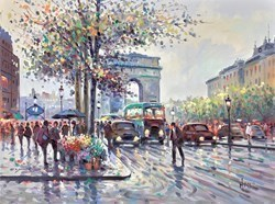 Porte Saint-Denis, Paris by Henderson Cisz - Oil sized 24x18 inches. Available from Whitewall Galleries