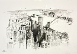 New York by Anna Gammans - Original Drawing on Mounted Paper sized 17x12 inches. Available from Whitewall Galleries