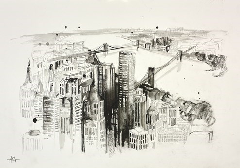 New York by Anna Gammans - Original Drawing on Mounted Paper