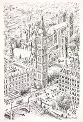 Westminster and Big Ben (Sketch) by Phillip Bissell -  sized 11x17 inches. Available from Whitewall Galleries