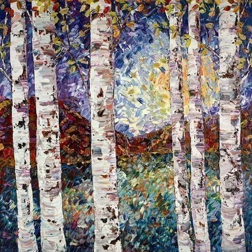Silver Birch VI by Maya Eventov - Original Painting on Box Canvas