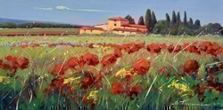 Giallo e Rosso I by Bruno Tinucci -  sized 24x12 inches. Available from Whitewall Galleries