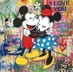 Love is in the Air by Mr Brainwash - Original on Paper sized 36x36 inches. Available from Whitewall Galleries