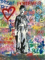 Chaplin by Mr Brainwash -  sized 38x50 inches. Available from Whitewall Galleries