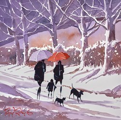 Winter Walk  by Peter J Rodgers - Original Painting on Paper sized 12x12 inches. Available from Whitewall Galleries