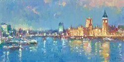 Westminster, London II by Helios -  sized 16x8 inches. Available from Whitewall Galleries