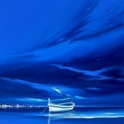 Phantom Blue I by Jonathan Shaw -  sized 24x24 inches. Available from Whitewall Galleries