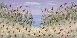 Cliff Top Flowers I by Mary Shaw -  sized 48x24 inches. Available from Whitewall Galleries