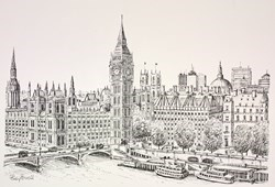 Towards Westminster (Sketch) by Phillip Bissell -  sized 17x11 inches. Available from Whitewall Galleries