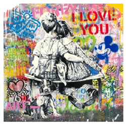 Work Well Together by Mr Brainwash - Original on Paper sized 36x36 inches. Available from Whitewall Galleries