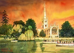 River Boats, Stratford by Peter J Rodgers - Original Painting on Paper sized 28x20 inches. Available from Whitewall Galleries