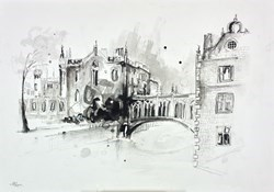 Cambridge sketch by Anna Gammans -  sized 17x12 inches. Available from Whitewall Galleries