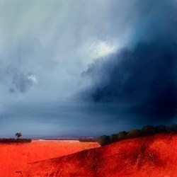 Didtant Hillside by Barry Hilton -  sized 32x32 inches. Available from Whitewall Galleries