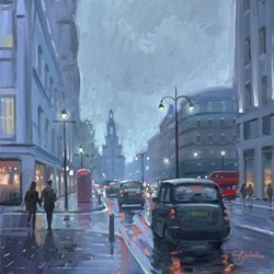 Rainy Evening, the Strand by Charles Rowbotham -  sized 12x12 inches. Available from Whitewall Galleries