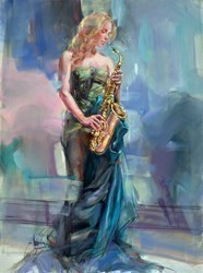 Syncopation II by Anna Razumovskaya -  sized 30x40 inches. Available from Whitewall Galleries
