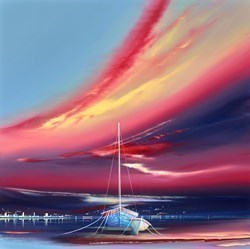 Twilight Boats II by Jonathan Shaw -  sized 24x24 inches. Available from Whitewall Galleries