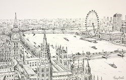 The Thames and Westminster by Phillip Bissell -  sized 17x11 inches. Available from Whitewall Galleries