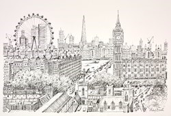 Westminster and the London Eye (Sketch) by Phillip Bissell -  sized 17x11 inches. Available from Whitewall Galleries