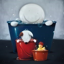 A Bath of Bubbly by Doug Hyde - Original Drawing, Paper on Board sized 30x30 inches. Available from Whitewall Galleries