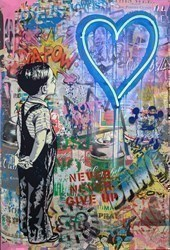 With All My Love by Mr Brainwash - Neon Light and mixed media in plexi glass box sized 30x44 inches. Available from Whitewall Galleries