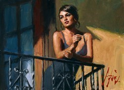 Saba at the Balcony VII (Black Dress) by Fabian Perez -  sized 12x9 inches. Available from Whitewall Galleries
