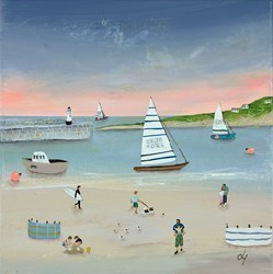 Sandcastles 'n' Sails by Lucy Young -  sized 12x12 inches. Available from Whitewall Galleries