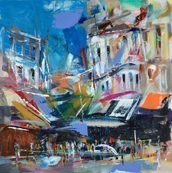 Busy Corner by Marijus Jusionis -  sized 24x24 inches. Available from Whitewall Galleries