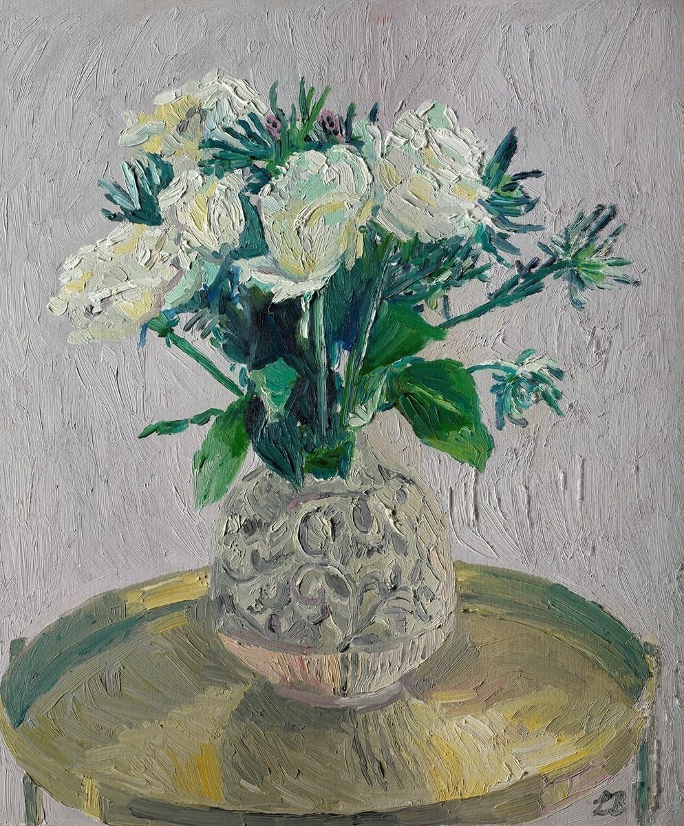 White Roses and Swirls
