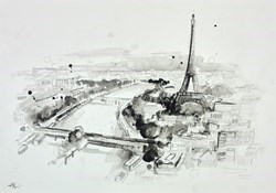 Eiffel Tower Paris sketch by Anna Gammans -  sized 17x12 inches. Available from Whitewall Galleries