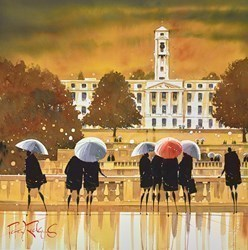 University Brollies by Peter J Rodgers - Original Painting on Paper sized 20x20 inches. Available from Whitewall Galleries