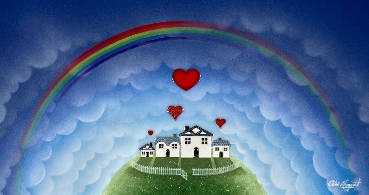 A New Rainbow by Chloe Nugent -  sized 30x16 inches. Available from Whitewall Galleries