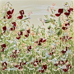 Crimson Petals I by Mary Shaw -  sized 12x12 inches. Available from Whitewall Galleries