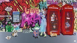 Queen, Two Phones, Cash and Chips by Dylan Izaak -  sized 42x24 inches. Available from Whitewall Galleries