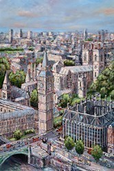 London, Flying High by Phillip Bissell -  sized 24x36 inches. Available from Whitewall Galleries
