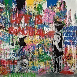 With All My Love by Mr Brainwash -  sized 48x48 inches. Available from Whitewall Galleries