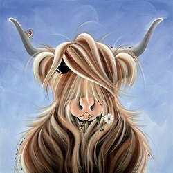 Finlay McMoo by Jennifer Hogwood - Embelished Canvas on Board sized 16x16 inches. Available from Whitewall Galleries