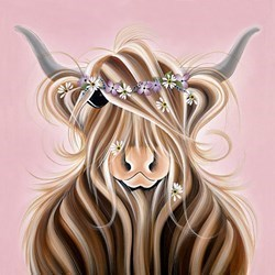 Flora McMoo by Jennifer Hogwood - Embelished Canvas on Board sized 16x16 inches. Available from Whitewall Galleries