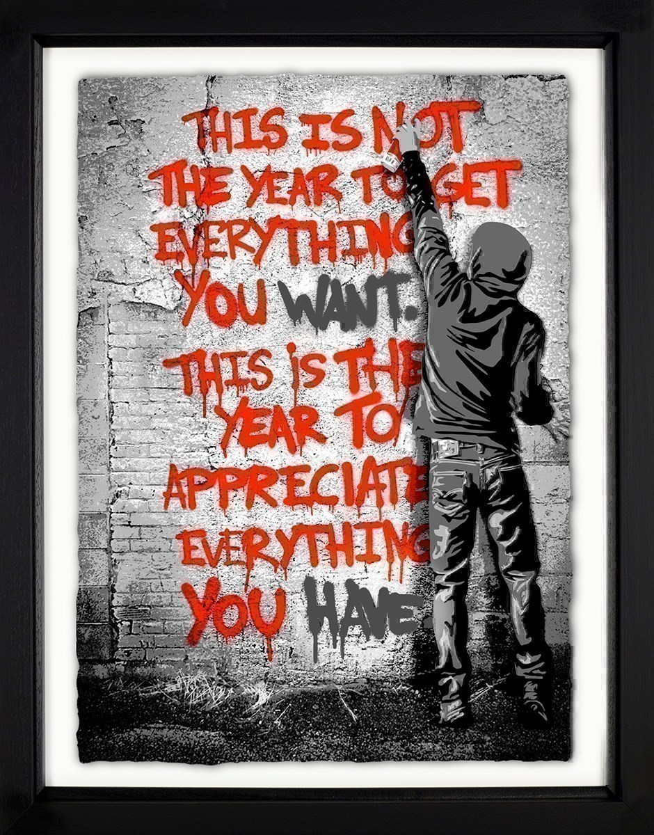Open Your Mind (Red) by Mr Brainwash - Framed Limited Edition on Paper