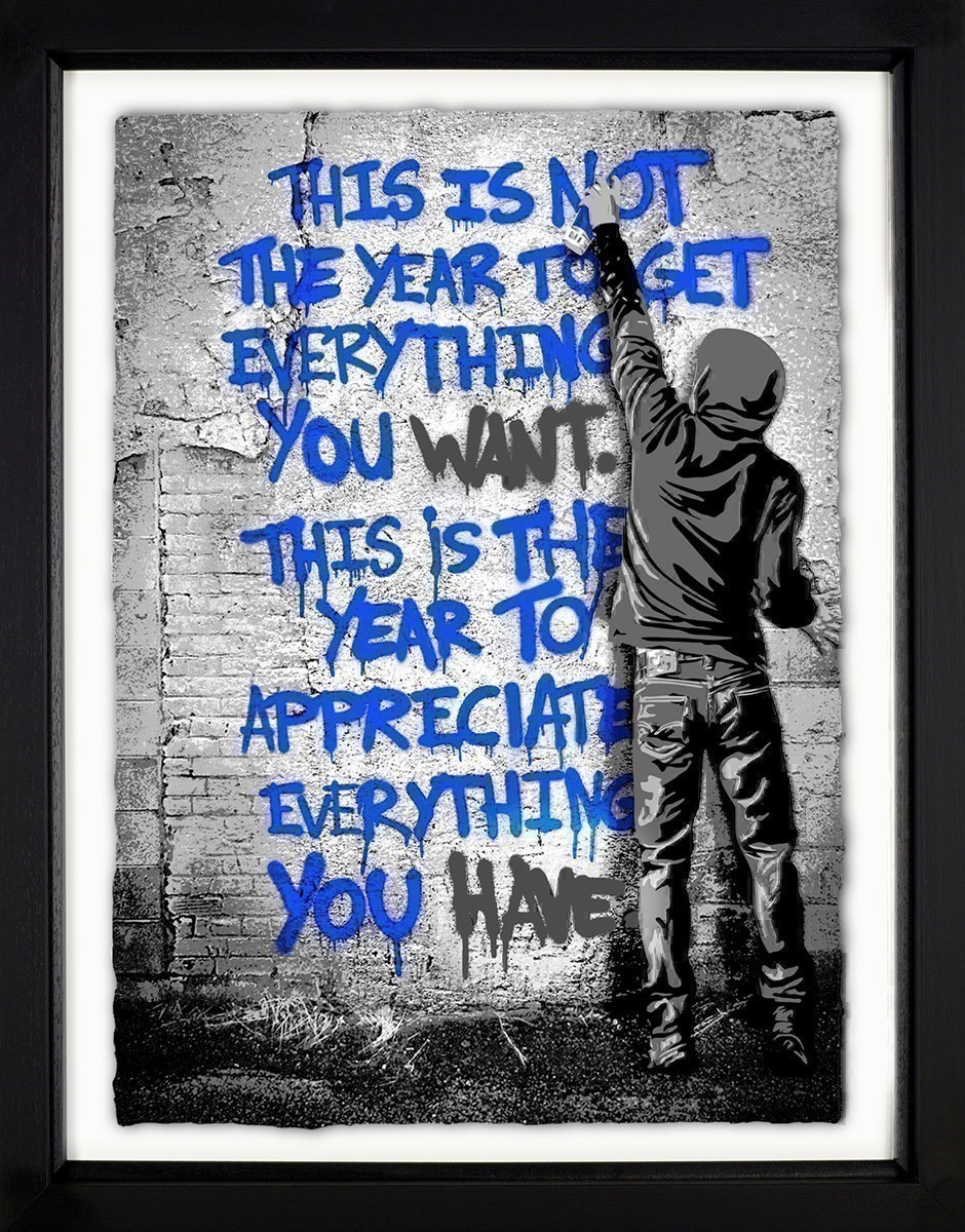 Open Your Mind (Blue) by Mr Brainwash - Framed Limited Edition on Paper