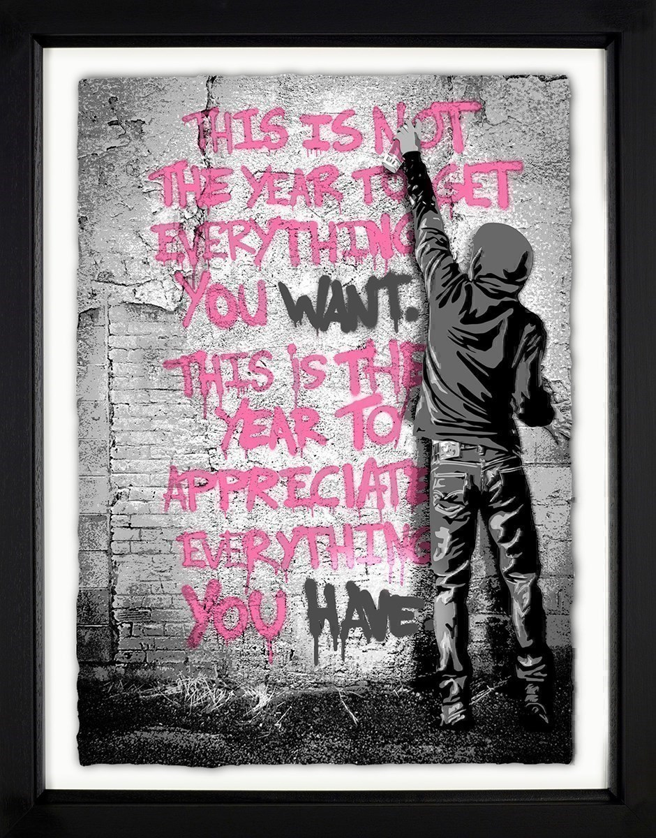 Open Your Mind (Pink) by Mr Brainwash - Framed Limited Edition on Paper